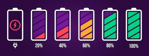 エネルギーレベルのアイコン。充電負荷、電話のバッテリーインジケーター、スマートフォンの電力レベル、空の蓄電池エネルギー、完全なステータスアイコンを設定します。紫色の背景にバッテリーサインパックを読み込んでいます Premiumベクター