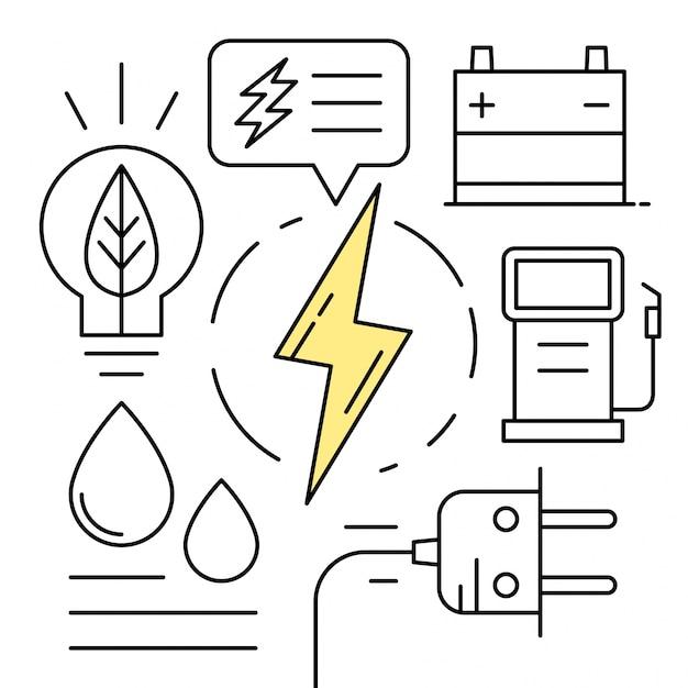 線形エネルギーアイコン最小限の環境要素 無料ベクター