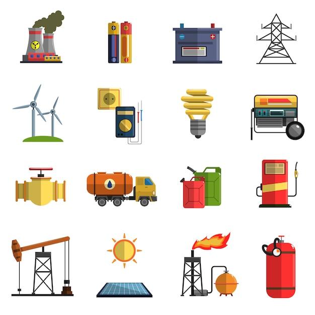 Energy power flat icons set Free Vector