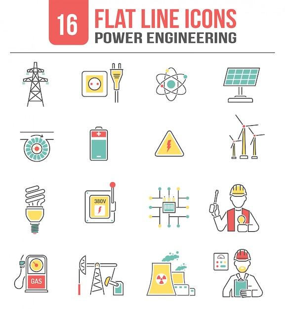 Energy power line icons set Premium Vector