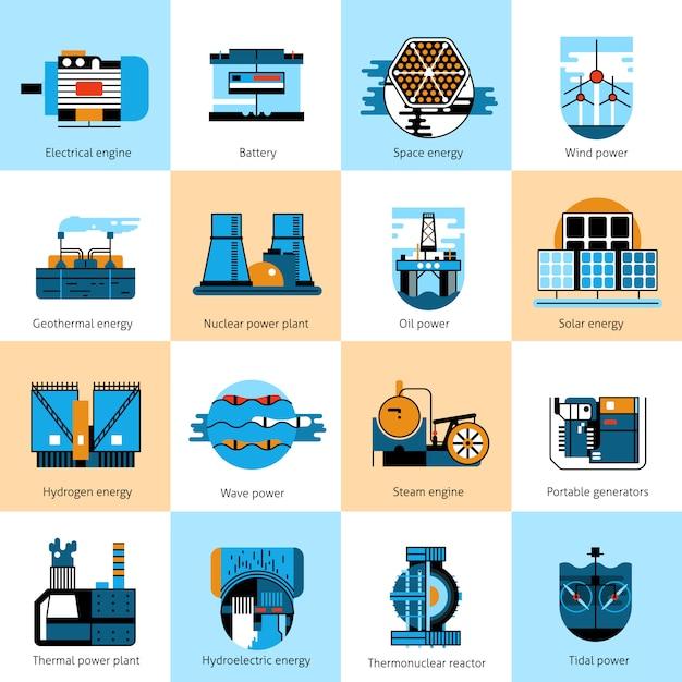 Energy production flat line icons set Premium Vector