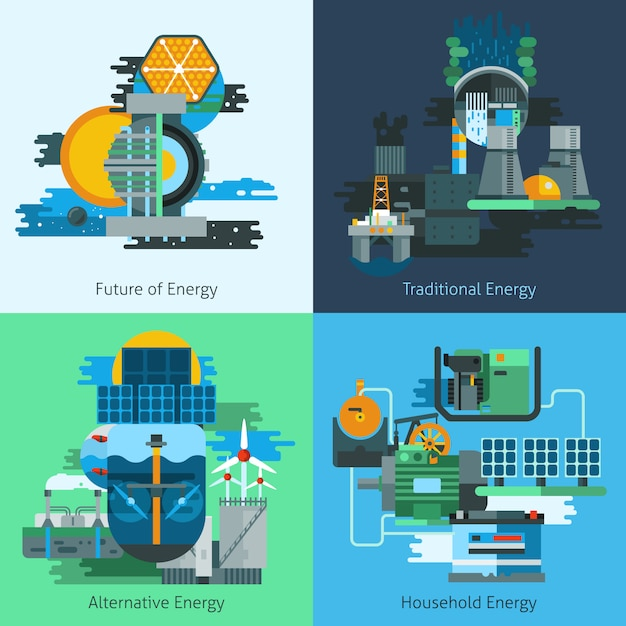 Energy production flat set Free Vector