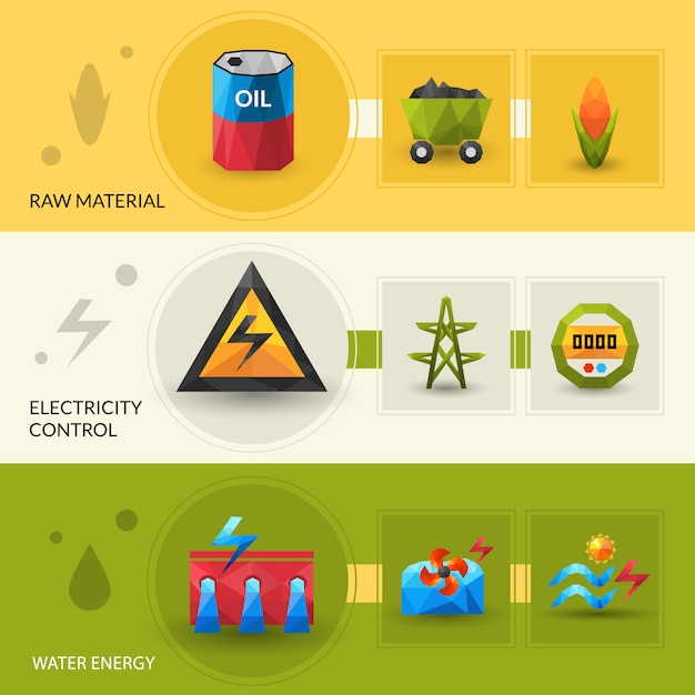 Energy resources and control banner set Free Vector