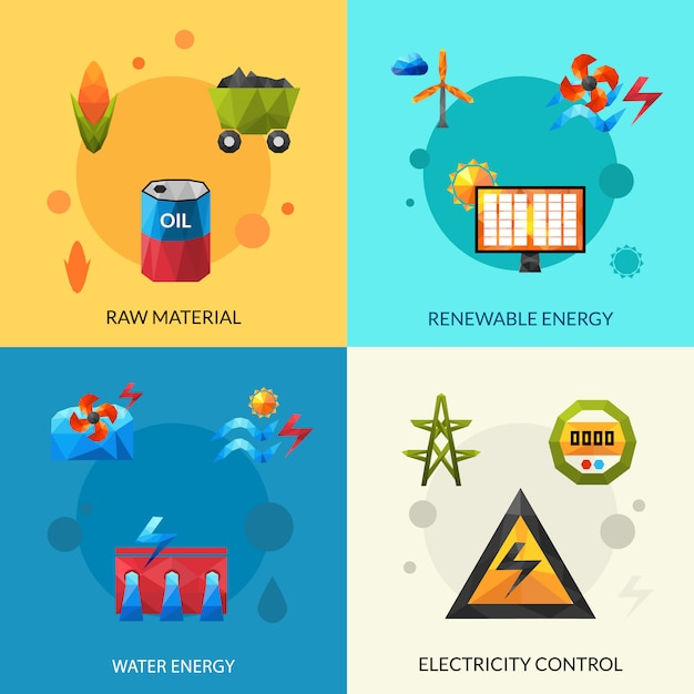 Energy resources icons set Free Vector