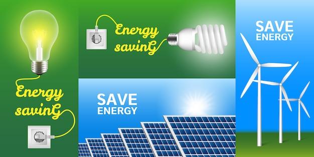 Energy saving banner set Premium Vector
