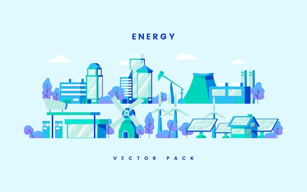 Energy saving concept vector in blue Free Vector