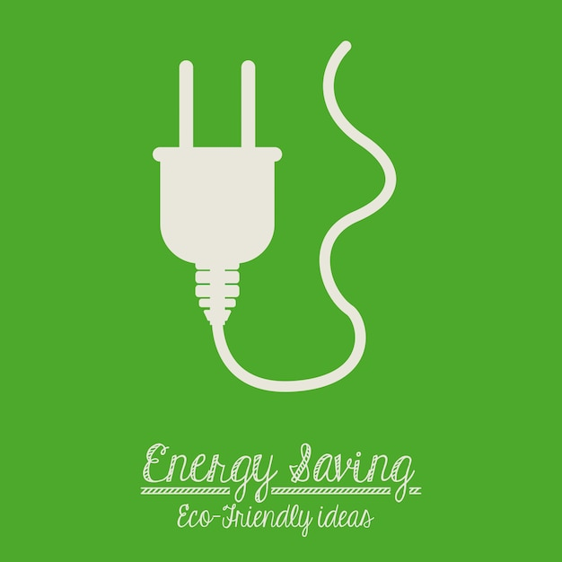 Energy saving design over green background Premium Vector