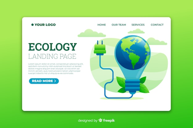 Energy saving landing page Vector | Free Download