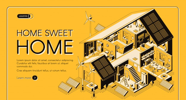 Energy self-sufficient house isometric vector web banner, landing page. Free Vector
