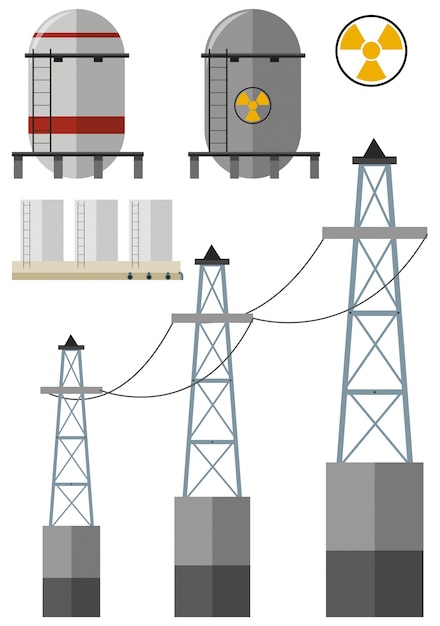 Energy set with fuel tank and electricity wires Free Vector