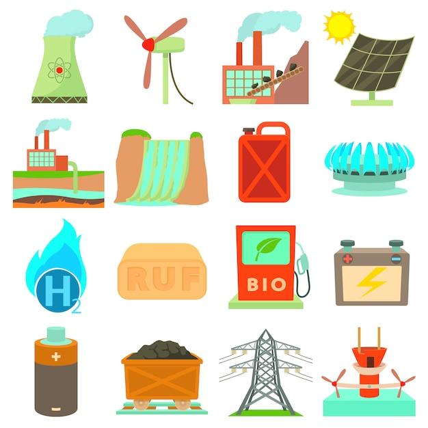 Energy sources icons set Premium Vector