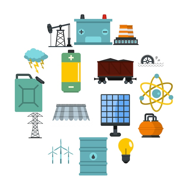 Energy sources items icons set in flat style Premium Vector