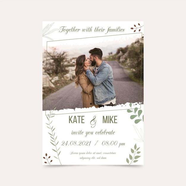 Шаблон помолвки с фотографией жениха и невесты Premium векторы