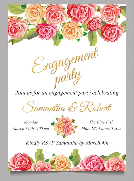Engagement Invitation Card With Flower And Gold Premium Vector