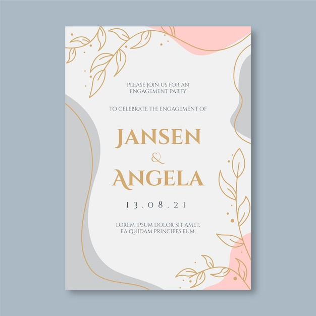 Engagement invitation template with elegant ornaments Free Vector