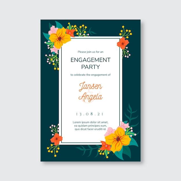 花との婚約招待状のテンプレート 無料ベクター