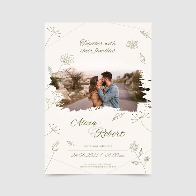 Engagement invitation template with photo Free Vector