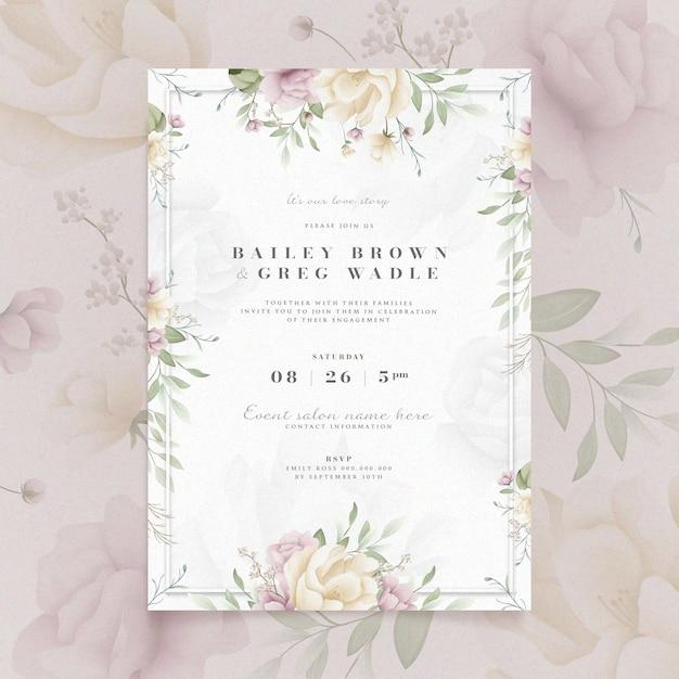 花柄の婚約招待状 無料ベクター
