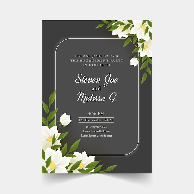 Engagement invitation with flowers template Free Vector