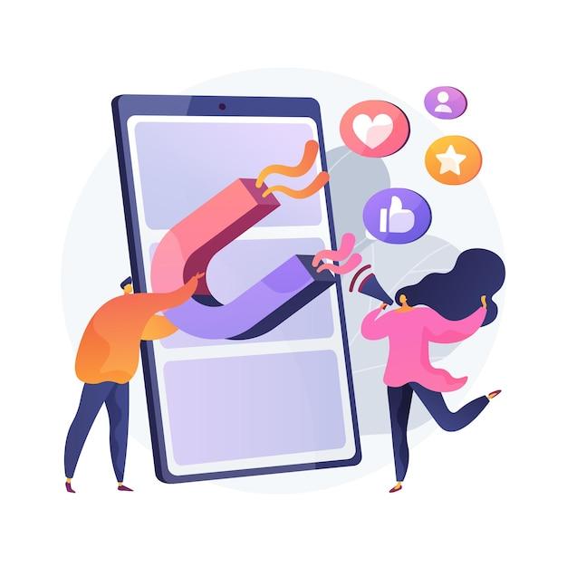 エンゲージメントマーケティングの抽象的な概念図。インターネットマーケティング、エンゲージメント管理、積極的な参加、オンラインコマース、smm戦略、インタラクティブコンテンツ 無料ベクター
