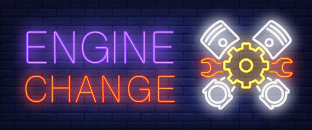 Engine change sign in neon style Free Vector