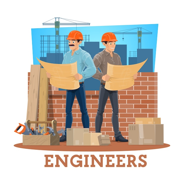 Engineer and architect of construction industry Premium Vector