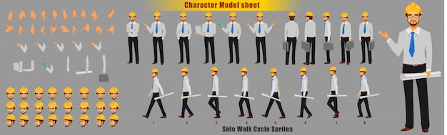 Engineer character model sheet with walk cycle animation sequence Premium Vector