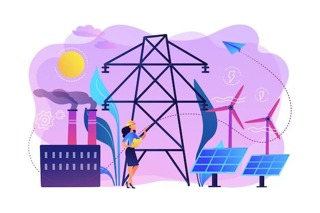 Инженер выбирает электростанцию с солнечными батареями и ветряными турбинами. альтернативная энергия, зеленые энергетические технологии, концепция экологически чистой энергетики. Бесплатные векторы