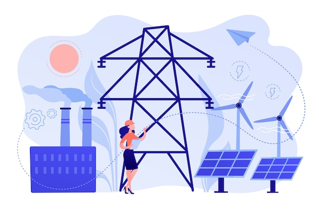 Engineer choosing power station with solar panels and wind turbines Free Vector