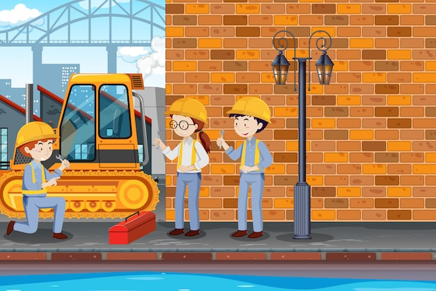 Engineer fixing cart at factory illustration Free Vector