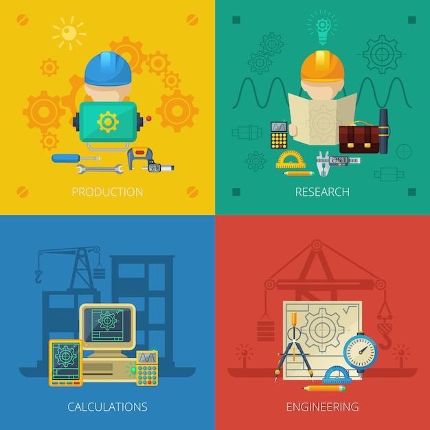 Engineer flat icons composition square Free Vector