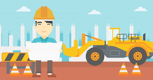 Engineer holding a blueprint. Premium Vector