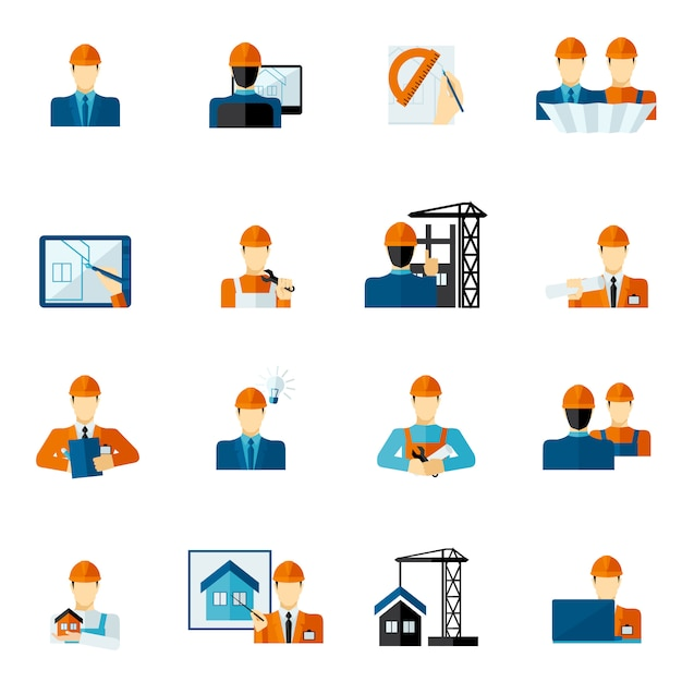 Engineer icons flat Premium Vector