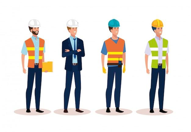 Engineer men group with helmet secure Free Vector