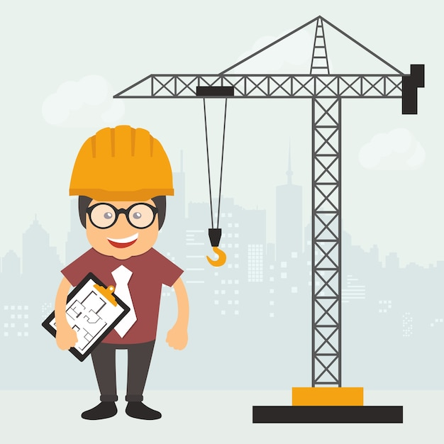 Engineer on construction site Free Vector
