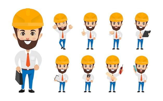 Engineer people industry character in occupation job. Premium Vector