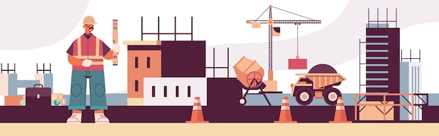 Engineer in uniform holding level construction of buildings concept builder in helmet and vest working on construction site Premium Vector