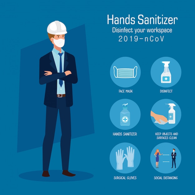 Engineer with mask and hands sanitizer prevention tips Premium Vector