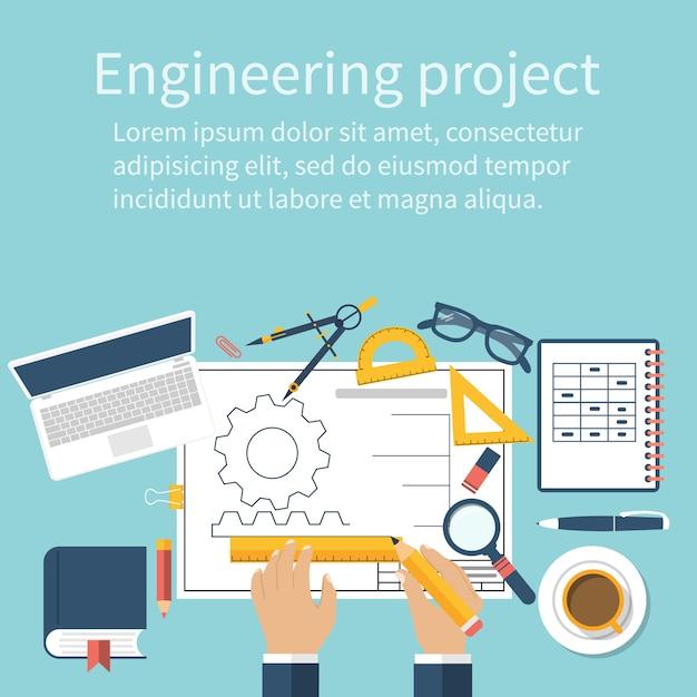 Engineer working on blueprint. engineering drawing, technical scheme Premium Vector