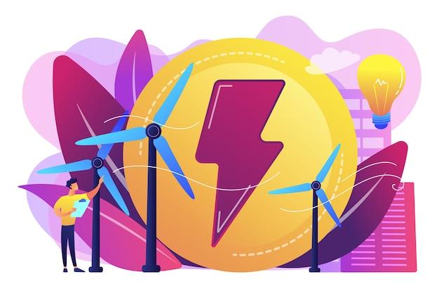 Ingegnere che lavora con turbine eoliche che producono energia verde, lampadina. energia eolica, energia rinnovabile, concetto di fornitura di elettricità verde. Vettore gratuito