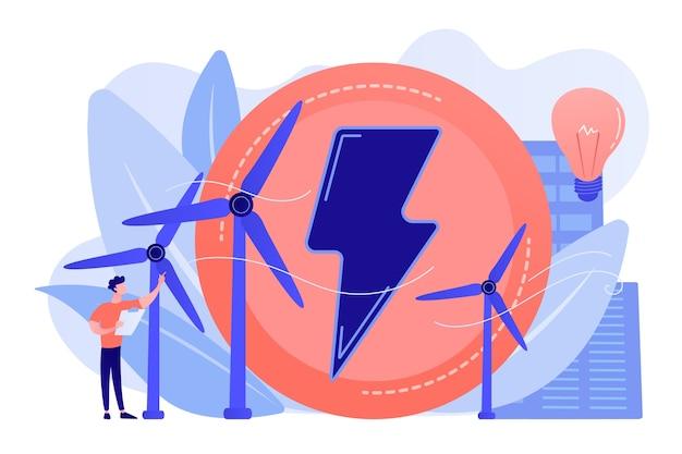Инженер, работающий с ветряными турбинами, производящими зеленую энергию, лампочку Бесплатные векторы