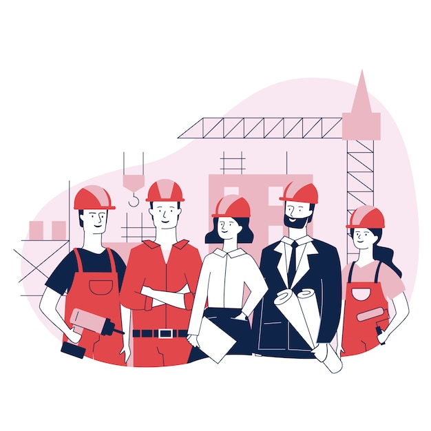 Engineering and construction workers standing together Free Vector