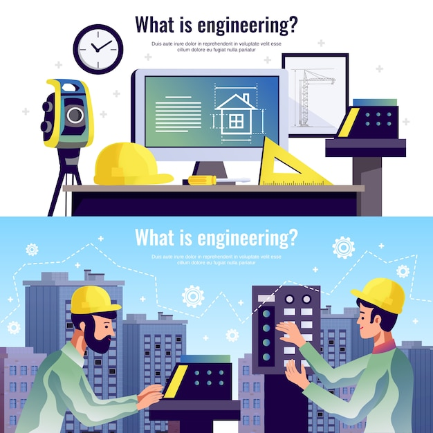Engineering horizontal banners Free Vector
