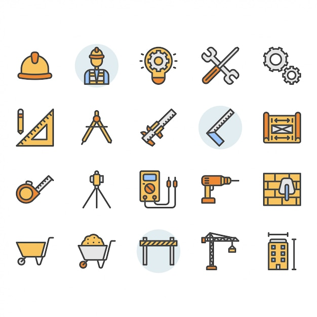 Engineering icon and symbol set Premium Vector