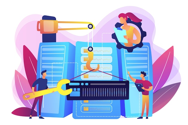 Engineers consolidating and structuring data in the center. big data engineering, massive data operation, big data architecture concept. bright vibrant violet  isolated illustration Free Vector