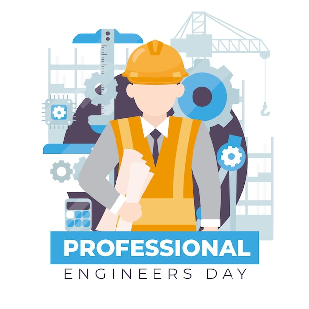 Engineers day front view character with protection helmet Free Vector