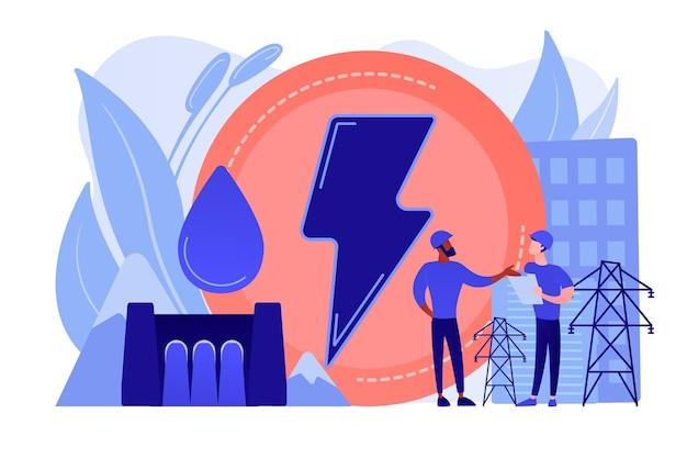 落下する水エネルギーを生成する水力発電ダムで働くエンジニア 無料ベクター