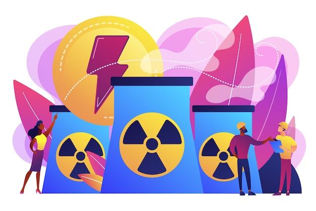에너지를 방출하는 원자력 발전소 원자로에서 일하는 엔지니어. 원자력 에너지, 원자력 발전소, 지속 가능한 에너지 원 개념. 무료 벡터