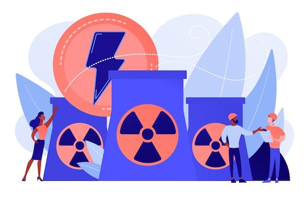 에너지를 방출하는 원자력 발전소 원자로에서 일하는 엔지니어 무료 벡터