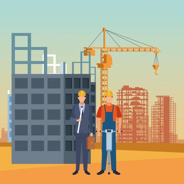Enginnerと建設風景の下で作業するビルダー Premiumベクター